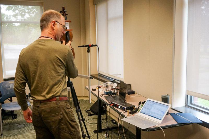 Joseph Curtin in the measurement room