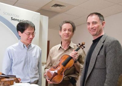 Fan Tao, Terry Borman, and Joseph Curtin CT scanning the Vieuxtemps, 2010