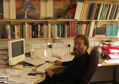 Professor Jim Woodhouse in his office at Cambridge University