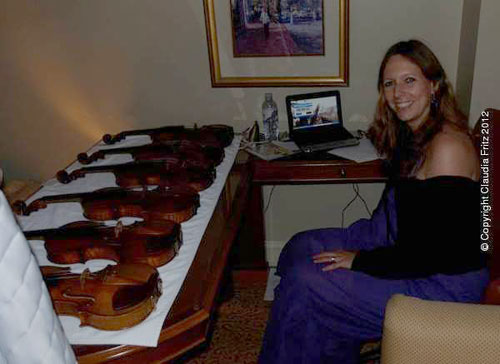 Claudia Fritz with the test violins in Indanapolis