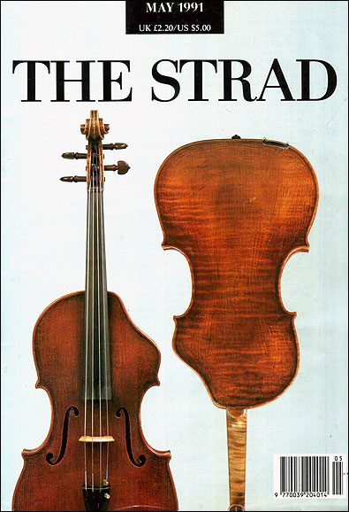 Erdesz cut-away viola on the cover of The Strad, 1991